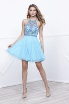 Unique Vintage Aqua Blue Sheer Embellished Chiffon Short Dress