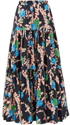 La DoubleJ Big Skirt Floral-print Cotton-poplin Maxi Skirt - Black Print