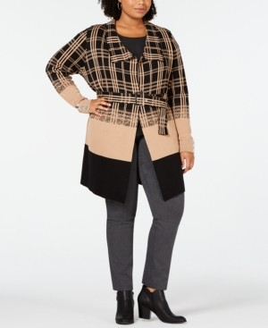 Belldini Black Label Plus Size Ombre Plaid Trench Cardigan