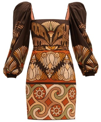 Johanna Ortiz Deluge Puff-sleeved Cotton-poplin Dress - Brown Multi