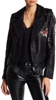 Studded Floral Faux Leather Moto Jacket