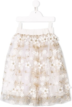 NOON BY NOOR MINI azale floral embroidered skirt