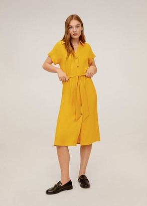 MANGO Button shirt dress mustard - 6 - Women