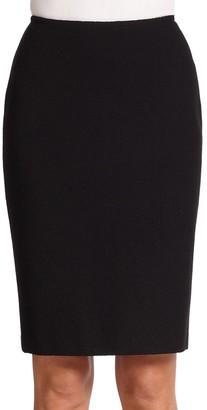 St. John Caviar Collection Micro Boucle Knit Pencil Skirt