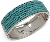 Kenneth Cole New York Silver-Tone Beaded Hinged Bangle Bracelet