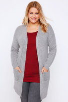 Yours Clothing Grey Boucle Longline Cardigan With Pockets
