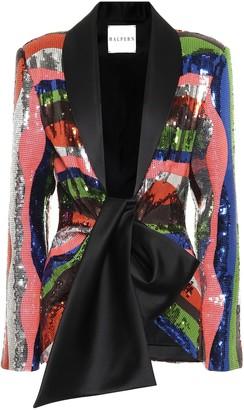 Halpern Satin-trimmed sequined jacket