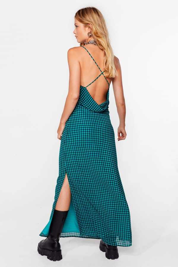 Thumbnail for your product : Nasty Gal Womens Gingham Cowl Back Maxi Slit Dress - Green - 4