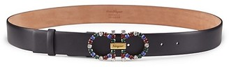 Salvatore Ferragamo Donna Multicolor Jeweled Buckle Leather Belt