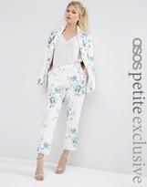 Asos SALON Cigarette Pants in Blue Floral Print
