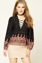 Forever 21 FOREVER 21+ Lace-Up Damask Print Top