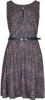 Apricot Navy & Stone Petal Print Structured Dress