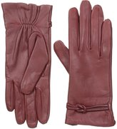 Isotoner Women's Leather Glove with Interlocking Knot Fleece Lining