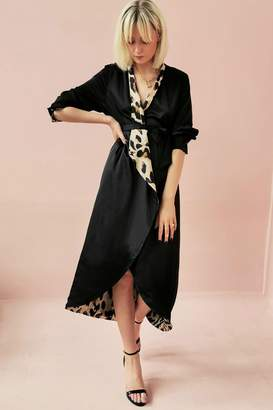 Womens Never Fully Dressed Animal Print Reversible Wrap Dress - Black