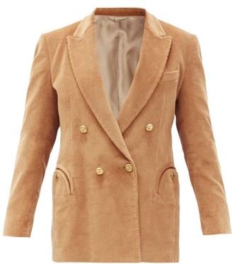 BLAZÉ MILANO Classic Touch Double-breasted Cotton Blazer - Camel