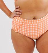 ModCloth Sissone textured high waist bikini bottom in orange check