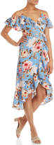 Necessary Objects Floral Ruffle Wrap Dress