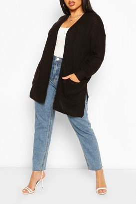 boohoo Plus Fisherman Rib Oversized Boyfriend Cardigan