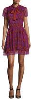 Diane von Furstenberg Marisa Printed Silk Tie-Neck Dress, Parry Petite Amethyst