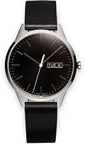 Uniform Wares C40 Polished Steel Shell Cordovan Unisex Quartz Watch with Black Dial Analogue Display And Black Leather Strap
