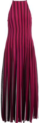 Michael Kors Long Striped Dress With Pleated Bottom
