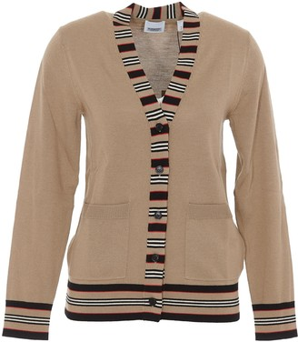 Burberry Icon Stripe V-Neck Cardigan