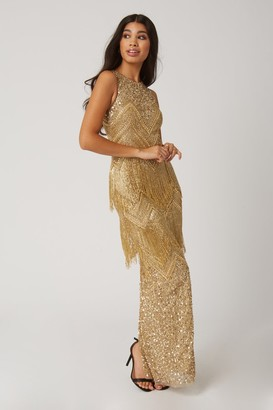 Little Mistress Gala Gold Fringed Flapper Maxi Dress