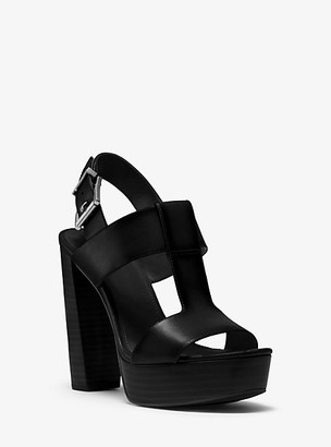 Michael Kors Becker Burnished Leather Platform Sandal