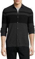 Neiman Marcus Cashmere Colorblock Polo Sweater, Charcoal/Black