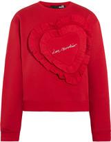 Love Moschino Ruffled cotton-blend jersey sweatshirt