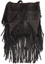 Kooba Janis Fringe Leather Drawstring Bag, Black