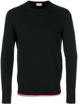 Moncler crew neck stripe trim sweater