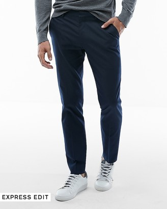 Express Extra Slim Navy Cotton Blend Stretch Suit Pant