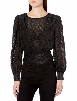 ASTR the Label Women's Ronan Puff Sleeve Open Back Velvet Blouse
