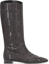 Roger Vivier Patent leather-trimmed jacquard knee boots