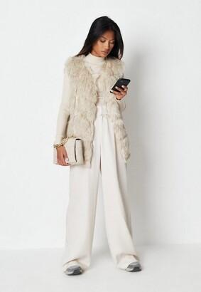 Missguided Beige Faux Fur Vest