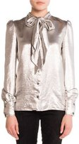 Saint Laurent Tie-Neck Lamé Blouse, Silver