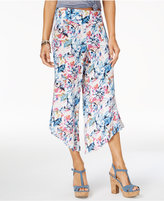 Rewash Juniors' Printed Asymmetrical Hem Cropped Beach Pants