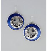 Laura Ashley Blue and Grey Hammered Metal Fishook Earrings