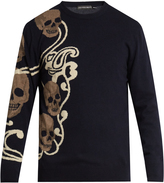 Alexander McQueen Skull-intarsia wool and cashmere-blend sweater
