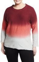 Marc NY Performance Plus Dip-Dye French Terry Cloth Sweatshirt, Brown, Plus Size