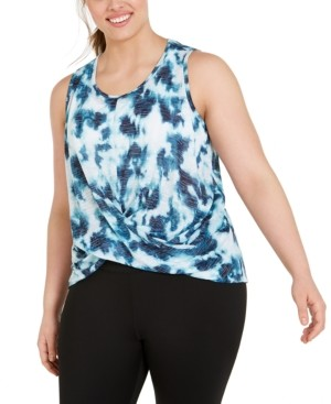 Ideology Plus Size Tie-Dye Twist-Front Top, Created for Macy's