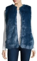 Bagatelle Open-Front Faux-Fur Vest, Blue