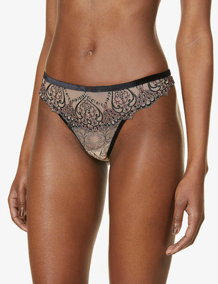 Aubade Curs Enlaces high-rise mesh and lace thong