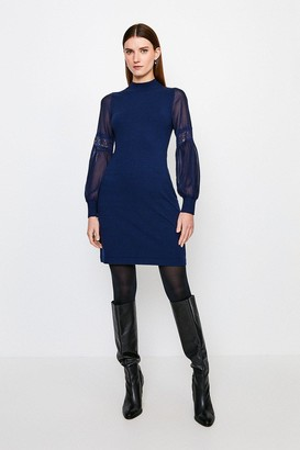 Karen Millen Sheer Sleeve Lace Knitted Dress