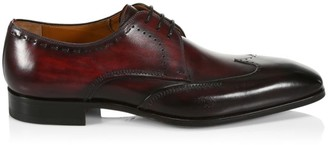 Saks Fifth Avenue COLLECTION BY MAGNANNI Burnished Leather Wingtip Derby Dress Shoes