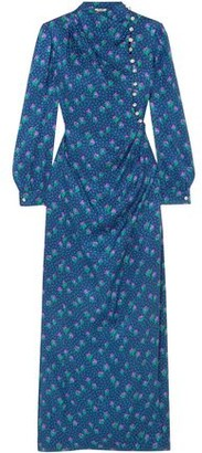 Miu Miu Button-detailed Printed Silk-jacquard Maxi Dress