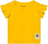 Mini Rodini Yellow Solid Rib Wing Tee