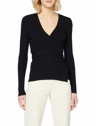 Dorothy Perkins Women's Black Textured Spot Wrap Jumper Pullover Sweater 16