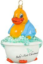 Rubber Ducky Joy the World Collectibles Baby's First Christmas Ornament with Blue Towel